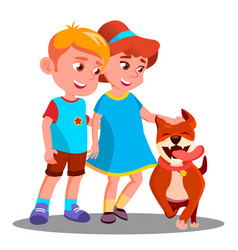 boy and girl walk the dog pet isolated vector image