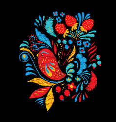 bright embroidery with flowers berrias and bird vector image