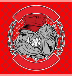 bulldogs wear caps and chains hand drawing vector image