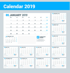 calendar template for 2019 year business planner vector image