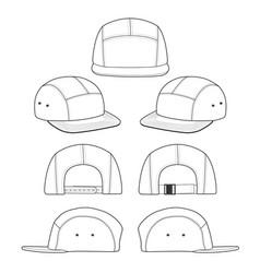 Camp cap flat sketches templat vector
