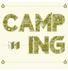 Camping Lettering Travel Postcard in outline style vector