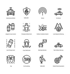 Car driving line icons vector
