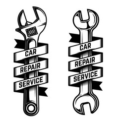car repair service emblem template wrench with vector image