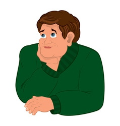 Cartoon man in green sweater torso holding chin vector