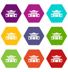 Chinese icon set color hexahedron vector