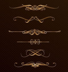 Classic golden design elements vector image