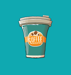 coffee cup isolated on turquoise background vector image