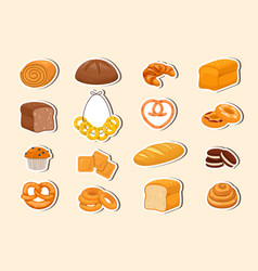 collection bakery stickers vector image
