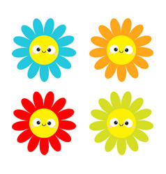 Colorful daisy chamomile set with smiling face vector