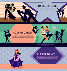 Colorful dancing people horizontal banners vector