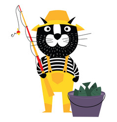 Cool cartoon cat like fisherman with bucket of vector