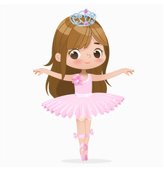 Cute child girl ballerina dancing isolated vector