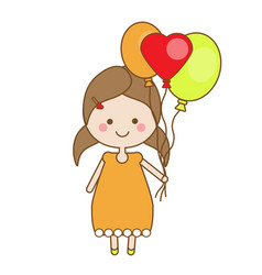 Cute smiling little girl holding balloons vector