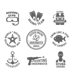 Diving label set vector