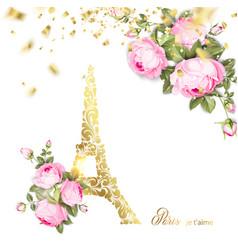 Eiffel tower icon with golden confetti falls vector