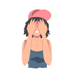 embarrassed teenage girl covering her face with vector image