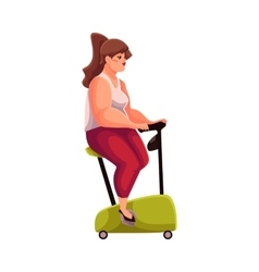 Fat woman doing cycling workoutl cardio vector