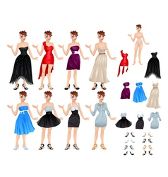 Female avatar with dresses and shoes vector