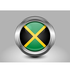 Flag of Jamaica Metal and Glass Round Icon vector image