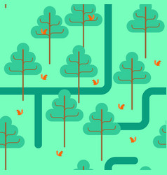 forest seamless pattern park ornament trees and vector image