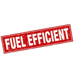 Fuel efficient red square grunge stamp on white vector