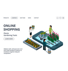 gardening tools plants and flowers online shop vector image