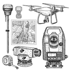 geodetic equipment hand drawn vector image