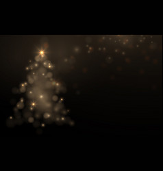 gold sparkling christmas tree symbol vector image