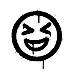 Graffiti smiling face emoticon sprayed isolated vector
