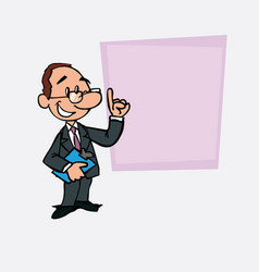 Happy white businessman with glasses is showing vector