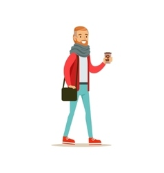 Hipster Guy With A Beard Holding A Paper To Go vector