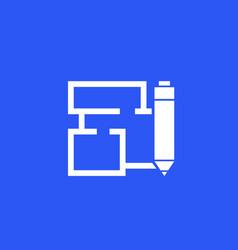 Home plan and pen icon vector