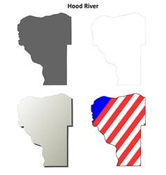Hood river map icon set vector