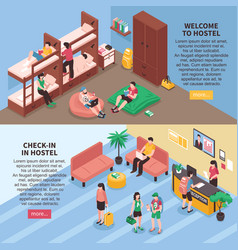 Hostel rooms isometric banners vector