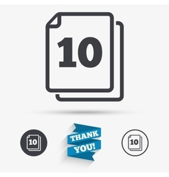 In pack 10 sheets sign icon 10 papers symbol vector image