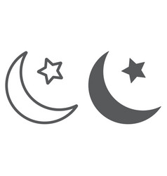 islamic crescent line and glyph icon arabic and vector image