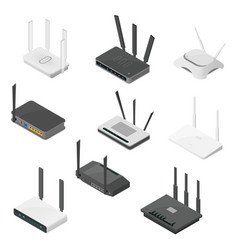 Isometric set routers isometric realistic vector