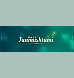 Janmashtami festival peacock feather banner design vector