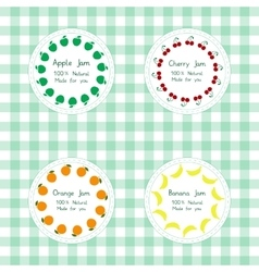 Labels for apple cherry orange banana jam vector