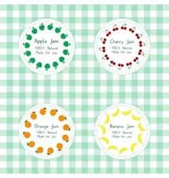 Labels for apple cherry orange banana jam vector