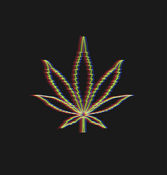 leaf on marijuana lined silhouette cannabis vector image