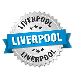 Liverpool round silver badge with blue ribbon vector