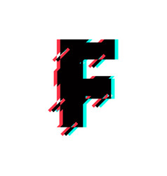 logo letter f glitch distortion diagonal vector image