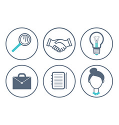 magnifying glass and handshake icons set vector image