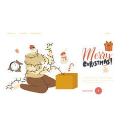 man pull christmas decor out box landing page vector image