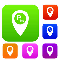 Map pointer with car parking set collection vector