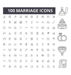 marriage line icons signs set outline vector image
