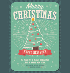 merry christmas card with christmas tree and gift vector image