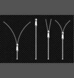Metal zip fasteners silver zippers with puller set vector